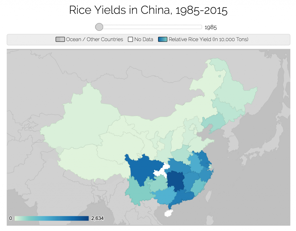 Click to view an interactive map of rice yields in China.